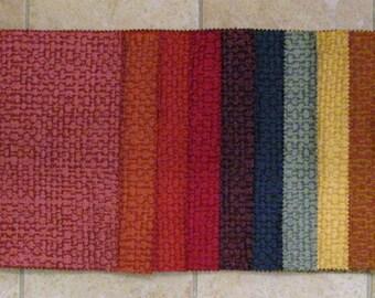 LOT Small Palette Raised Tweed Designer Fabric Samples Rainbow Colors 15 PCS