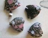 Rhodochrosite Gemstone Google Eyed Fish Earrings