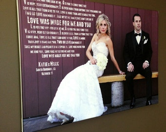 Personalized Engagement Photo Gift Wall Art  romantic vows lyrics Anniversary or Wedding Canvas Art  16x20 inches Geezees