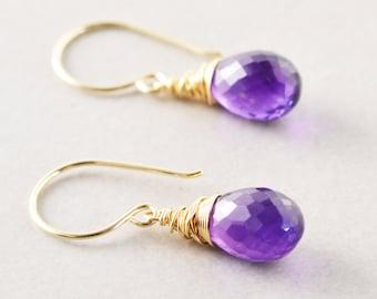 Amethyst Dangle Earrings, Purple Drop Earrings, February Birthstone, Orchid