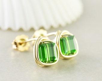 Green Studs, Square Crystal Posts, Green Cube Earrings, Swarovski Crystal Earrings