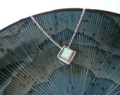 Labradorite Necklace in Sterling Silver - Sweet Gift, Dainty Everyday Necklace, Diamond Floating Pendant Necklace