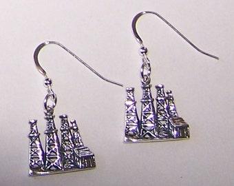 Sterling Silver OIL DERRICK Earrings - Profession