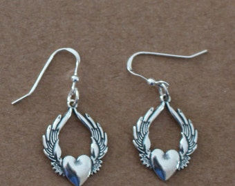 Earrings - Sterling Silver SUFI HEART -  Winged Heart