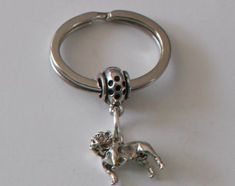 Sterling 3D BULLDOG  Key Ring, Key Chain -  Pet
