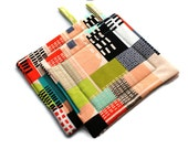 Quilted Pot Holders Jay McCarroll City Scape set of 2 Black White Orange Green Geometric