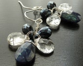 Blue, Black, Ornament Spectrolite, Tourmalated Quartz, and Black Spinel. Earrings by Anastassia Designs