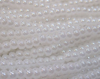 6/0 White Pearl Czech Glass Seed Beads