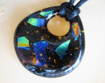 Dichroic Glass Donut Pendant Necklace, Black and Dichro Pendant