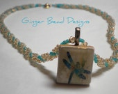 Dragonfly Scrabble Tile Beaded Necklace