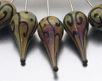 Glass Headpins - helix teardrops (1) - raku and black on sterling silver wire - by Jennie Yip