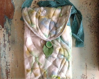Unique Abstract Silk Wool Mohair Felted Fairy Shoulder Hip Purse Bag