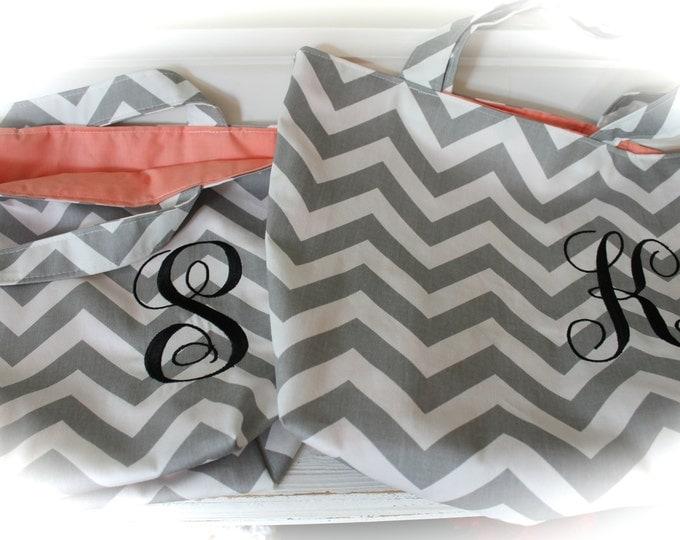 Monogrammed Chevron Tote Bags Wedding Bridesmaid Gifts Set of 3