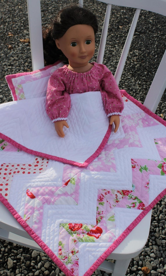 Items Similar To Pink Chevron Doll Quilt Amp Matching Pillow