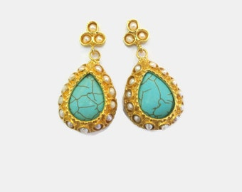 SALE-Turquoise and Pearl Drop Antique Style  Earrings
