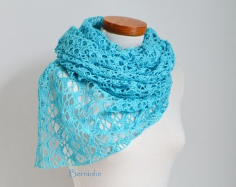 Lace crochet shawl, stole, cotton, Aqua blue,  M204