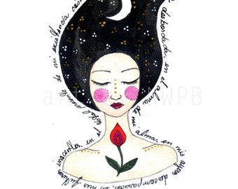 Julia de Burgos poetry print. Illustration. Art print
