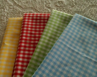 Cotton Quilt Fabric  Gingham Check    Green 19 x 22