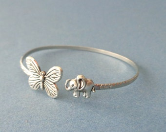 Butterfly bracelet wrap style with an elephant
