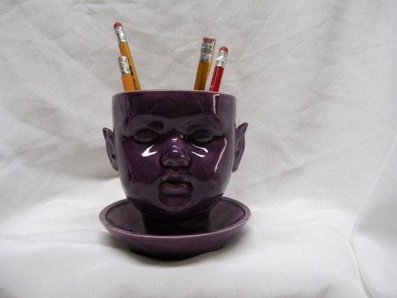 Purple Ceramic Doll Head  Pencil Holder