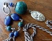 Salah Necklace, Azurite Chrysocolla Lapis Lazuli, All Sterling Silver, Patron Saint of Missionaries, Inspirational, Soulful, Jesus Follower