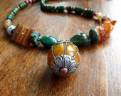 Arunima Necklace, Nepali Pendant, African Horn & Agate, Natural Earthy Gemstones, Ethnic Organic Tribal, Boho, Rugged Beauty, World Citizen