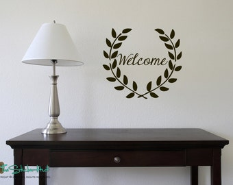 Welcome with Floral Wreath - Entryway Front Door Decor - Home Decor - Vinyl Lettering - Vinyl Decals Stickers 1621