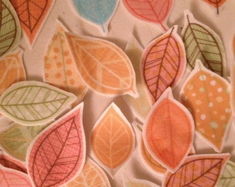 Fall Leaves in Soft Pastel Colors - Iron On Fabric Appliques