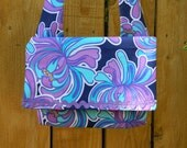 Blue Hawaii Purple Tropical Floral on Blue Envelope Flap Top Bag with Shoulder Strap Lightweight