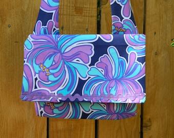 Blue Hawaii Purple Tropical Floral on Blue Envelope Flap Top Bag with Shoulder Strap Lightweight