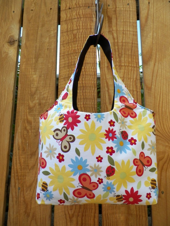 Social Butterfly Summer Yellow Red Blue White Mini Sac Shopping Craft Gathering Tote