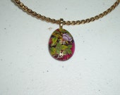 Dichroic Glass Necklace - Red Flower Dichroic Glass Cabochon on Twisted Gold NeckRing
