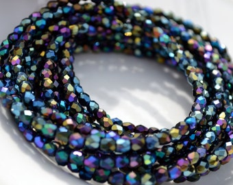 Iris Blue  4mm Faceted Fire Polish Round Beads   50