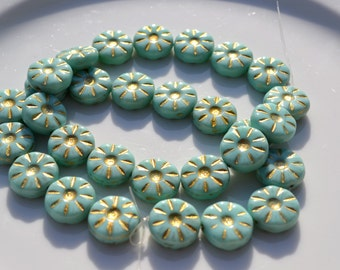 Mint Green and Gold Etched Coin Beads  15