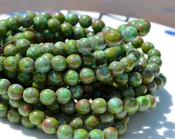 Green Turquoise Czech Glass 8mm ROund Beads  25