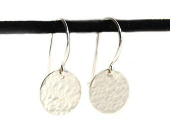 Light Catcher - Hammer Finish Tiny Sterling Silver Earrings (SE003)