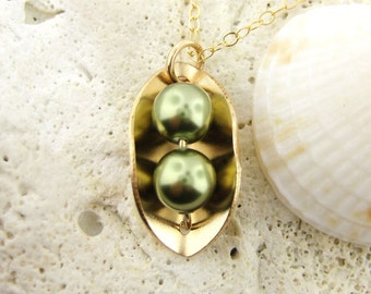 Two Peas in a Pod Necklace - 14k Gold Filled and Swarovski Crystal Light Green Pearls (NP011).