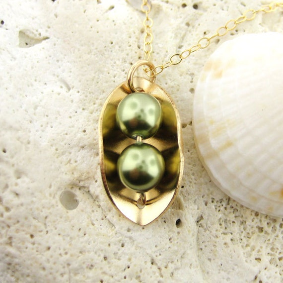 Two Peas In A Pod Necklace 14k Gold Filled And Swarovski