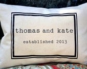 Personalized pillow, cotton anniversary, 2nd anniversary, wedding gift idea, anniversary date- wedding date- custom pillow