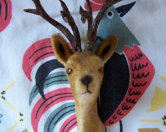 flocked deer head with antlers