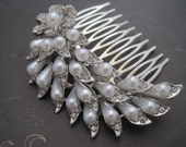 Wedding comb white pearl rhinestone silver flower and leaves