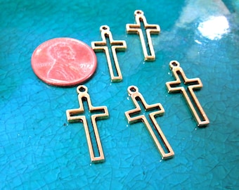 50% Off 12 Cross Charms, Open Cross Pendant, Antique Gold plated Brass 24x11x1.5mm C0027