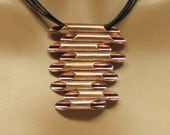 Copper abstract pendant, statement, gift