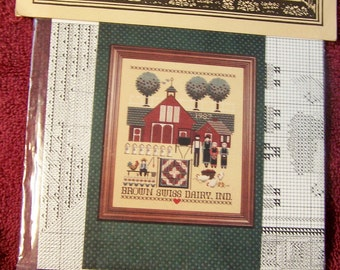 Cross Stitch Chart Brown Swiss Dairy an Amish Told in a Garden Design NEW in PKG
