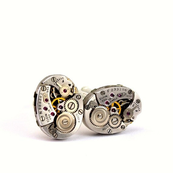Steampunk Cuff Links - Stunning Mens Watch Movement Cufflinks - GORGEOUS Elgin Clockwork Design - Securely Packaged and PROMPTLY SHIPPED