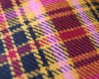 Vintage Woven Paid Fabric in Pink Burgundy Mustard and Black Over 2 Yards