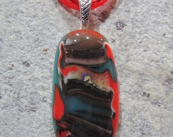 Fused Glass Pendant with ribbon necklace: Mixed Up Red Reaction
