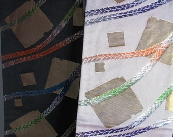 Reversible Silk Obi with Geometric Design