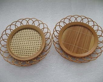 Set of 2 Bamboo Coasters for Him and Her