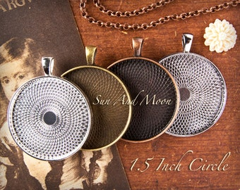 15 (New) TEXTURED 38mm Circle Pendant Tray Craft Kit ~ 15 Vintage Or Rolo Chains ~ 38mm Ultra Clear Glass Domes ~ 2 oz Sun and Moon Glaze